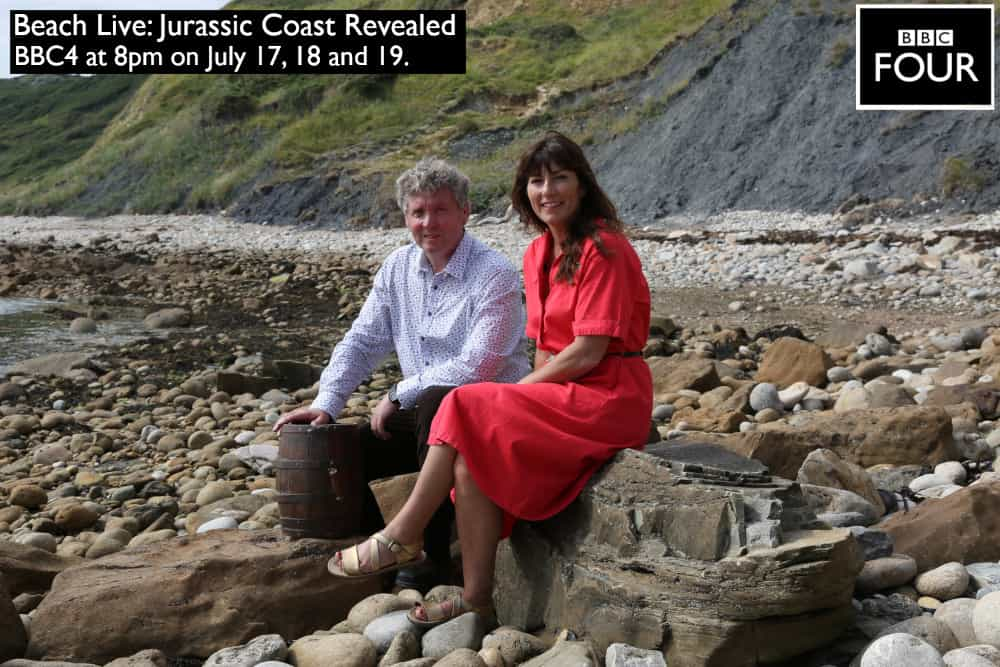 Roger with TV presenter Lucy Cooke on Osmington beach in Dorset